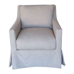 Pre-owned Slim Track Arm Slipcover Chair - This darling slim track arm slipcover chair comes in a pre washed linen and polyester blend textured fabric. Slipcover can be removed and washed. Made in the USA by Dino Home Collection. The frame is kiln-dried alder hardwood. The springs in the seat are sinuous. The back pillow has a fiber, down and feather fill. The seat cushion is wrapped with fiber, and filled with down and feather with foam core.