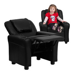 Flash Furniture - Flash Furniture Contemporary Black Vinyl Kids Recliner w/ Cup Holder & Headrest - Kids will now be able to enjoy the comfort that adults experience with a comfortable recliner that was made just for them! This chair features a strong wood frame with soft foam and then enveloped in durable vinyl upholstery for your active child. Choose from an array of colors that will best suit your child's personality or bedroom. This petite sized recliner is highlighted with a cup holder in the arm to rest their drink during their favorite show or while reading a book. [DG-ULT-KID-BK-GG]
