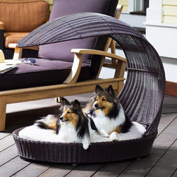 Refined Canine - Refined Canine Outdoor Dog Chaise Lounger Multicolor - CHAISE-XL-ES - Shop for Beds Covers and Fill from Hayneedle.com! Sized for medium or small dogs the Refined Canine Outdoor Dog Chaise Lounger is constructed from beautiful natural rattan in a beautiful stained espresso color. This contemporary-style canopy provides ample shade for your dog to relax outdoors after playtime. The oval tufted cushion is machine-washable. Dimensions Medium: 40L x 28W x 38H inches Large: 43L x 31.5W x 41H inches