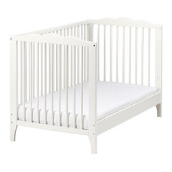 HENSVIK Crib, white - The bed base can be placed at two different heights. One bed side can be removed when the child is big enough to climb into/out of the bed.