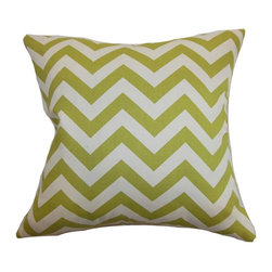 """The Pillow Collection - Xayabury Zigzag Pillow Village Green Natural 20"""" x 20"""" - Bring personality and a punch of color to your room with this zigzag throw pillow. This accent pillow features a graphic print pattern in Village Green and Natural color palette. This decor pillow is made from 100% high-quality fabric. The square pillow brings charm with its refreshing color and style with contemporary design. Hidden zipper closure for easy cover removal.  Knife edge finish on all four sides.  Reversible pillow with the same fabric on the back side.  Spot cleaning suggested."""