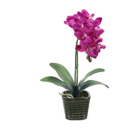 """Jane Seymour Botanicals - Jane Seymour Botanicals Potted Orchid, Purple - Phalaenopsis orchid plant of the faux variety is planted firmly in this simple but elegant ceramic vase container. 14"""" tall."""