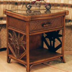 Hospitality Rattan - Cancun Palm 1 Drawer Nightstand w Glass - A drawer and a lower shelf make this woven wicker nightstand a versatile addition to your decor, while palm tree accents and a rustic style evoke the spirit of tropical beachfront vacations. The nightstand is available in your choice of finish options and has a glass top. This product is warranted for indoor use. Made of Wood Frame and Woven Wicker. Traditional wicker bedroom one drawer nightstand with glass. Durable, yet elegant construction and matches Cancun Palm Seating, Dining, Bar Stool Items as well. Metal Glides for the drawers. Coordinates with other bedroom pieces from the Cancun Palm collection. Tropical island style design with palm tree decor. Pictured in Antique. Fully assembled. 22 in. W x 20 in. D x 23 in. H (26 lbs.)This Cancun Palm bedroom collection is one of our exclusive and largest collections of fine rattan and herringbone wicker weaving. That has a fiber palm tree castings design. The woven leather bindings used throughout Cancun Palm ensures its durability and quality for many years of use. It enhances the tropical look in any bedroom room. The selection of two finishes help compliment any room decor. In addition metal glides are used on all the case good pieces along with glass which is included on the Cancun Palm Collection.