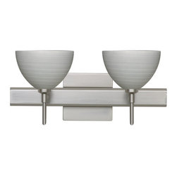 Besa Lighting - Besa Lighting 2SW-4679TN-SQ Brella 2 Light Reversible Halogen Bathroom Vanity Li - Brella has a classical bell shape that complements aesthetic, while also built for optimal illumination. Our Titan glass is a soft off-white cased glass that is handcrafted with spiraling strokes of silver, emphasizing the subtle brush pattern. The silvery rippled design is subdued and harmonious. Unlit, it appears as simply a textured surface like spun silk, but when lit the texture comes alive. The smooth satin finish on the clear outer layer is a result of an extensive etching process, with the texture of the subtle brushing. This blown glass is handcrafted by a skilled artisan, utilizing century-old techniques passed down from generation to generation. The vanity fixture is equipped with decorative lamp holders, removable finials, linear rectangular housing, and a removable low profile oval canopy cover.Features: