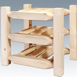 Montana Woodworks - Countertop Wine Rack - 9 bottle capacity. Solid lodge pole pine. Handcrafted with heirloom quality. Sawn squared timber and trim piece. Durable and fit with rustic features. Must be finished with quality finish to prevent discoloration or damage. Personally signed by artisans. A+ rating fron BBB. Made from solid US grown wood. Made in USA. No assembly required. 13 in. W x 17 in. D x 15 in. H (12 lbs.). Use and Care Instructions. Finish Detail. WarrantyHomestead Collection of fine rustic furniture features timbers and trim pieces similar reminiscent of a timber framed home on the American frontier..From Montana Woodworks, the largest manufacturer of handcrafted quality log furnishings in America comes the all new Homestead Collection line of furniture products. The artisans rough saw all the timbers and accessory trim pieces for a look uniquely reminiscent of the timber-framed homes once found on the American frontier. Display your fine wines in this handcrafted counter top wine rack! This nine bottle capacity rack is the perfect way to nestle your chosen vintages in rustic charm while having them at your fingertips..
