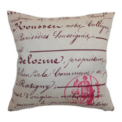 "The Pillow Collection - Saloua Typography Pillow Rosa 18"" x 18"" - Liven up your room with this chic decor pillow. This throw pillow features a French script print pattern in rosa pink hue and set against a natural colored fabric. The dramatic contrast of the accent pillow makes this a perfect statement piece for your space. This square pillow blends easily with other patterns and colors. Add this 18"" pillow on your sofa, bed or chair for an eclectic twist. This contemporary pillow is made from 100% soft cotton fabric. Hidden zipper closure for easy cover removal.  Knife edge finish on all four sides.  Reversible pillow with the same fabric on the back side.  Spot cleaning suggested."