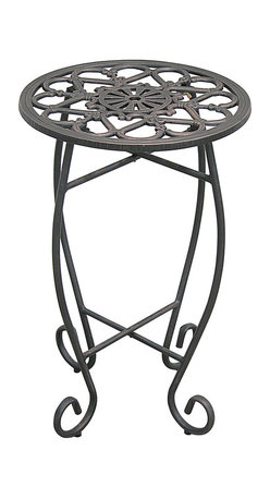 Innova Hearth & Home - Copper Rust Folding Plant Stand - Proudly display plants with this graceful, cast iron plant stand that offers a polished profile, a solid structure and an elegant design for a fashionable place to showcase your precious flora.   23'' H x 14'' diameter Cast iron Assembly required Imported