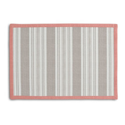 Gray & Ivory Handwoven Stripe Tailored Placemat Set - Class up your table's act with a set of Tailored Placemats finished with a contemporary contrast border. So pretty you'll want to leave them out well beyond dinner time! We love it in this handwoven cotton feedsack stripe in gray that will take your rustic space from shabby to chic.