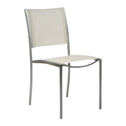 Tiburon Side Chair - By Kingsley Bate - A member of the mixed media group combining high grade 304 stainless steel, Batyline™ and our premium teak, the TIBURON dining side chair is a sleek, high end piece of furniture at value pricing. The non-stacking side chair ships in quantities of two.