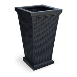 """Mayne Inc. - Wellington Tall Planter Black - Enjoy the look of wicker without the risk of weather damage with our new Wellington Tall Planter! Beautiful wicker design adds a charming touch to any patio or deck. Our molded plastic planters are made from high-grade polyethylene with built in UV inhibitors. Dimensions 16"""" x 16"""" x 28"""", opening dimension is 11.75"""" x 11.75"""". Approximately 16 gallon soil capacity."""