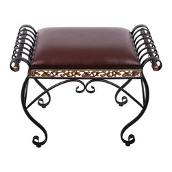 Original Florence Leather Bench - Our charming bronze ottoman is a sleek piece of furniture that has curvy scroll metal sides with golden accents and with a gorgeous sequence of bright dazzling gold cutwork metal edging that travels around the entire base of the cushion and its modern Florence framework of the iron looking textured base gives it an even more elegant look to it.