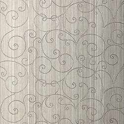 Beaded Scroll Wallcovering, Pewter - I'm swooning over this graceful scroll wallcovering!