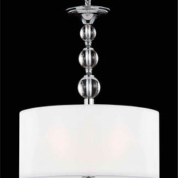 None - Crystal Base Pendant Chandelier - Brighten your home decor with a pendant chandelier Ceiling fixture has a chrome finish Lighting also showcases an ivory shade