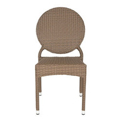 Safavieh - Valdez Indoor-Outdoor Stacking Side Chair - Brown - The fun creative design of the brown Valdez stacking side chair brings a new level of style to indoor and outdoor guest seating. This sturdy, durable chair with modern round back is sold in sets of two and crafted with easy care, weather resistant PE wicker and aluminum.