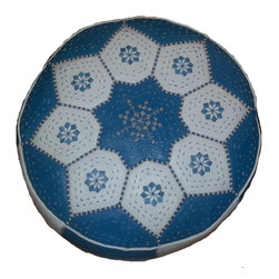 Kenza - Moroccan Leather Pouf / Ottoman, Aqua Blue / White - Moroccan Leather Pouf made of 100% leather with silk embroidery. Perfect for indoors and can be used around the house and as an extra seat around coffee tables or next to a sofa. Can also be used as an ottoman. Dimensions: Diameter: 21 Inches Height: 11 Inches