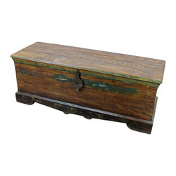 """Mexicali Rustic Wood Chest with Iron - The beauty of Old World Style, Recycled Wood, Tuscan Design and One-of-a-Kinds is that you won't find identical pieces. Each one is truly unique and worthy of admiration. Even though, many of the pieces in this collection have been recycled in one way or another, they match perfectly. This unique Wooden Trunk Box with Iron can also be used as a storage trunk or coffee table. Dimensions: 47. 5"""" l x 18"""" h x 16"""" w"""