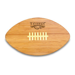 """Picnic Time - Philadelphia Eagles Touchdown Pro Cutting Board in Natural Wood - The Touchdown! cutting board is a 15"""" x 8.75"""" x 0.75"""" board made of eco-friendly bamboo with a standard football design, with 123 square inches of cutting surface. It can be used as a cutting board or serving tray, or use both sides of the board, one for cutting and the other for serving. The backside of the board is solid dark bamboo. Go long...for the Touchdown! Decoration: Engraved"""
