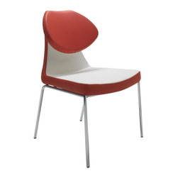 "sohoConcept - Gakko Upholstered Chair - Set of 2 (Red and W - Fabric: Red and White LeatheretteSet of 2. A distinctive dining chair with a comfortable upholstered seat. Backrest on chromed steel tube legs which are plastic tipped. Folded backrest gives chair extra comfort and futuristic look. Seat has a steel structure with ""S"" shape springs for extra flexibility and strength. Steel frame molded by injecting polyurethane foam. Upholstered with a removable zipper and velcro enclosed leather, PPM slip cover. Suitable for both residential and commercial use. Pictured in Red and White Leatherette. 18 in. W x 24 in. D x 33 in. H, Seat Height: 17.5 in."