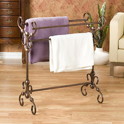 Upton Home - Upton Home Everton Antique Bronze Finish Quilt and Blanket Rack - Give your bedroom a vintage feel with this handy metal quilt rack from Everton. The 32' x 28' rack comes with a burnished-bronze finish and intricate scroll details. Use it to display your handmade or antique quilts or to simply free up closet space.