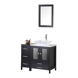 "Design Element - Design Element Arlington 36"" Espresso Modern Single Vessel Sink Vanity Set - The Arlington 36"" Vanity is elegantly designed and constructed of solid hardwood. The designer vessel sink and Carrera White Marble counter top bring a crisp contemporary look to any bathroom. The rectangular porcelain sink and marble counter top beautifully contrast with the rich features of the espresso cabinetry. This stylish design includes a soft closing double door cabinet and two drawers. A matching detached espresso cabinet with three drawers is provided for additional storage. Included with this set is an espresso framed mirror. The Arlington Bathroom Vanity is designed as a center piece to awe-inspire the eye without sacrificing quality, functionality or durability."