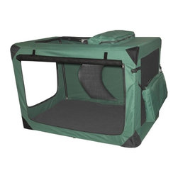 """Pet Gear - Generation II Deluxe Portable Soft Dog Crate in Moss Green - Large - -Made with tough, water-resistant materials. -Steel frame safely houses even excited pets. -Top, front and side entry doors for easy access. -Folds compactly for storage. -Removable, waterproof inner tray cleans easily. -Reversible nylon and fleece crate pad with storage bag. -Includes adjustable leash. -Includes toy and treat bag. -Dimensions: 31"""" H x 28"""" W x 42"""" D. -Capacity: 90 lbs."""