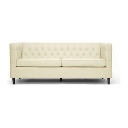 "Baxton Studio - Baxton Studio Darrow Cream Modern Leather Sofa - Without question, this sophisticated, sizable sofa will have a starring role in your space.  Taking center stage is the Darrow Sofa??s birch wood frame, cream bonded leather, and CA117 flame retardant foam cushioning.  A deep seat area ensures maximum comfort.  Plentiful button tufting, removable seat cushions, and black wood legs with non-marking feet are a satisfying finale.  Chinese-made, this designer sofa requires minimal assembly and should be wiped clean with a damp cloth and dried immediately.  A matching loveseat is also available (sold separately).                                                             Sofa dimension: 80"" x 34.5""D x 33""H"