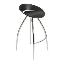 Rubin-B Bar Stool-Blk/Chrm - Climb aboard this sci-fi-inspired bar stool. Four impressive legs extend gracefully from the streamlined seating pod, allowing you to add a glimpse of the future into your present-day kitchen.