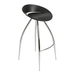 Eurostyle - Rubin-B Bar Stool-Blk/Chrm - Climb aboard this sci-fi-inspired bar stool. Four impressive legs extend gracefully from the streamlined seating pod, allowing you to add a glimpse of the future into your present-day kitchen.