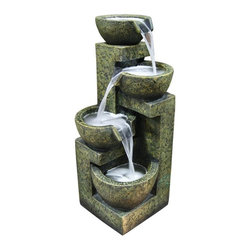 Alpine Fountains - Three Tier Water Fountain - Made of Fiberglass and Stone Power. 1 Year Limited Warranty. Assembly Required. Overall Dimensions: 11 in. L x 11 in. W x 24 in. H (18.7 lbs)These fiberglass fountains have the look of natural stone with the strength and durability of fiberglass. Multiple streams of water flow creates a relaxing and meditative atmosphere. They can be placed indoors or out.