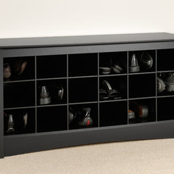 """Prepac - Black Shoe Storage Cubbie Bench - Store your shoes where you put them on with our Shoe Storage Cubbie Bench. Dual-purposed and versatile, this bench is a great addition to your foyer, mudroom, utility room or bedroom. Each of the 18 individual cubbies is spacious enough to hold a pair of size 13 men's shoes, keeping them neatly stored and out of the way. It's the perfect piece to keep your shoes organized.; Finished in durable deep black laminate; Constructed from CARB-compliant, laminated composite woods with a sturdy MDF backer; Ships Ready to Assemble, includes an instruction booklet for easy assembly and has a 5-year manufacturer's limited warranty on parts; Proudly manufactured in North America; Total Weight Capacity: 200 lbs; Dimensions: Assembled Dimensions: 48""""W x 24""""H x 16""""D; Internal Dimensions: 6.75""""W x 5.5""""H x 13.75""""D (each cubbie)"""