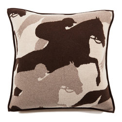 Rani Arabella - Rani Arabella Anthracite Cantering Horse Cashmere Blend Pillow, Sand - Earth tones and horse images combine to give the Cantering Horse Cashmere Blend Pillow its unique, rustic look. Made from 70% cashmere and 30% wool, this pillow features overlapping horse silhouettes in shades of sand, taupe and chocolate. Includes a 50% down and 50% polyester insert. Dry clean only. Made in Italy.