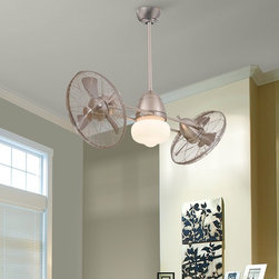 """Gyro 42"""" Brushed Nickel Wet Twin Turbo Outdoor Ceiling Fan With Light Kit - Featuring two gyro sytle fans, each with a 360 degree rotation, this ceiling fan has an oil-rubbed bronze finish and is rated for wet locations. This wet gyro ceiling fan has an oil-rubbed bronze finish. Features high-performance twin turbofans that rotate 360 degrees with adjustable heads. Includes 3 1/2"""" and 6"""" downrods and a wall mount touch-control system with fully independent fan heads and axis rotation speeds. UL listed for wet locations. Suitable for both indoor and outdoor use. Also includes an integrated halogen schoolhouse globe light. Dual, double fan design. Minka Aire F402-BNW"""