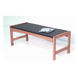 Wooden Mallet - Modern Solid Wood Coffee Table w Black Melami - Finish: Dark Red MahoganyA sensible, smart option for your busy office space, this coffee table combines equal parts style, value and durability. Black melamine top is made to withstand the rigors of everyday use, along with solid oak frame. You choose finish color to complement any decor. Pictured in Light Oak finish. 1 In. thick solid oak frame. Coated with durable state-of-the-art finish to stand up to heavy use. Tasteful contemporary styling coordinates with any decor. Granite-look, black melamine top is scratch resistant. Minimal assembly required. Made in the USA. 1-Year limited warranty. 20 in. D x 48.5 in. W x 18 in H. (41 lbs.)Wooden Mallet's solid oak coffee table is a thoughtful addition to your office furniture. Stylish, economical, and durable, this table is built to stand up to the heavy use of a busy office environment. It's the kind of modern office furniture you've been looking for. Use it as part of our suite of Dakota Wave furniture, and completely furnish your waiting room.