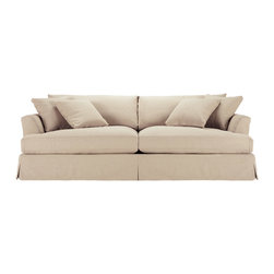 Emory Grand Slipcovered Sofa - Our Emory Grand Sofa manages to deliver irresistible comfort with a fresh, fashion-forward feel. A clean, modern silhouette merges with a washable cotton blend fabric to deliver a timeless look that remains smart and stylish through years of daily use. Handcrafted by skilled upholstery artisans in North Carolina, this cozy collection is versatile enough to complement any interior.