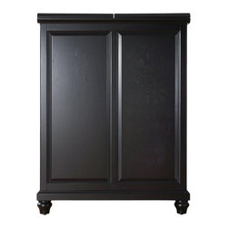 "Crosley - Cambridge Expandable Bar Cabinet in Black Finish - Constructed of solid hardwood and wood veneers, this Expandable Bar Cabinet is designed for longevity. The beautiful raised panel doors provide the ultimate in style to dress up your home. The doors open and top folds out to double the size of your entertaining / serving area. Inside the doors, you will find plentiful storage space for spirits, glassware, and a host of other bar items. The center cabinet features 16 bottle wine storage, utility drawer, hanging stemware storage, and extra space for a variety of other barware. Expands to 62 1/2"" Wide when Open, Solid Hardwood & Veneer Construction, Hand Rubbed, Multi-Step Finish, Beautiful Raised Panel Doors, Brushed Nickel Hardware, Plenty of Room for Storing Barware & Spirits, Doubles as a Serving Station when Entertaining, Adjustable Levelers in Legs, Solid Hardwood & Veneers*Free Shipping on orders over $100.00 to the 48 contiguous United States. Orders to Alaska, Hawaii, and all other countries, need to have the shipping calculated and the cost added to the order. Contact us at bentleymarketing@cox.net, for the additional fee."
