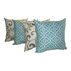 Land of Pillows - Lovely Lattice Aqua and Pom Pom Spa Modern Floral Throw Pillows - Set of 4, 16x1 - Fabric Designer - Waverly