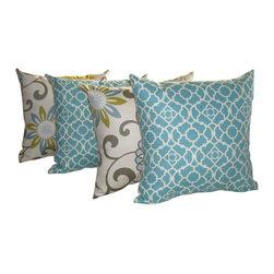 Land of Pillows - Lovely Lattice Aqua and Pom Pom Spa Modern Floral Throw Pillows - Set of 4, 16x1 - Fabric Designer - Waverly