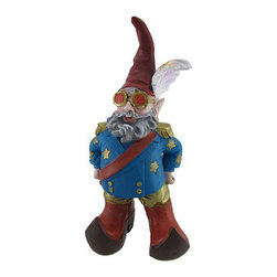 Elfin John Fabulously Dressed Entertainer Garden Gnome - This fabulously dressed 1960`s Captain Fantastic Elfin John garden gnome stands at the ready to play Your Song! This Boy in the Red Shoes won`t Let the Sun Go Down on Him, dressed in his blue coat with gold epaulets and red sash. Standing 15 inches tall, 7 inches wide and 5 1/2 inches deep,  he is made of cold cast resin, and is hand-painted. He`ll add a  fun, unique accent to your Empty Garden.