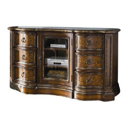 Hooker Furniture - Entertainment Console - This entertainment console could save your marriage. Not really, but it could get your electronics neatly stowed away in a fashionable and functional storage space. And keeping each other happy is what it's all about isn't it?