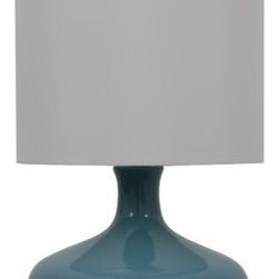 Teal Low Profile Gourd/ White Drum Shade -