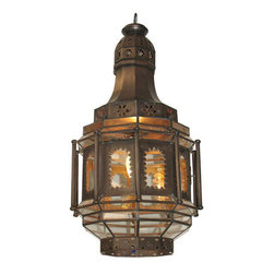 Mexican Artisans - Exotic Tin Window Light - Bring the romance of old-world Mexico home with this dramatic lantern. Aged tin and glass panels work together to distribute a soft glow of light that's perfect for a dining room or entryway. Hand-crafted detailing will add to the global ambience of your room.
