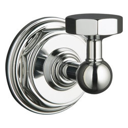 """Kohler - Kohler K-13113-CP Polished Chrome Pinstripe Pinstripe Robe Hook - Pinstripe(tm) robe hook Evoking the classic elegance and Art Deco sensibility of the 1930s, Pinstripe(tm) accessories create a crisp, refined look in any bath or powder room. The strong lines, curves and octagonal contours of this robe hook provide coordinated styling that complements the Pinstripe faucet line. 2-1/4""""W x 2-11/16""""D x 2-1/2""""H Coordinates perfectly with Pinstripe faucets  Premium metal construction for durability and reliability  Tools and drilling template included for easy installation"""