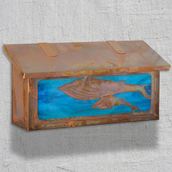 Whales Horizontal Wall Mounted Mailbox - Mother and baby whales swim gracefully across the front panel of your America's Finest mailbox. Select one of our many hand applied patina finishes and complete the design with the deep blue water glass. Handmade of solid brass this horizontal design has a traditional hinge detail on the lid and a rubber bumper inside to eliminate any noise when closing. The corner rivets complete the design and give this mailbox it's rugged handcrafted look. Easy to mount and a wonderful addition to your front entry this Whale design will be a delight for years to come. As with all America's Finest products it carries our lifetime warranty.