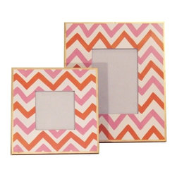 Dana Gibson Large Pink Bargello Picture Frames - Pink and orange chevron give these frames a cheery look.