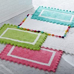 Pom-Pom Bath Mat - Perfectly puffy pom-poms trim our supersoft bath mat.