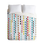 Khristian A Howell Nolita Drops Queen Duvet Cover - Dangling strings of brightly colored drops give this duvet cover a fun, contemporary twist. The animated pattern is strategically broken up with white spaces to keep it light, so it won't completely dominate the room. Try it as an upbeat focal point in a room with a simple two-color scheme.