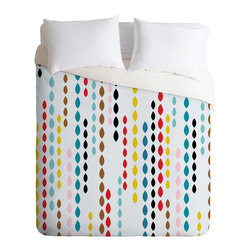 DENY Designs - Khristian A Howell Nolita Drops Queen Duvet Cover - Dangling strings of brightly colored drops give this duvet cover a fun, contemporary twist. The animated pattern is strategically broken up with white spaces to keep it light, so it won't completely dominate the room. Try it as an upbeat focal point in a room with a simple two-color scheme.