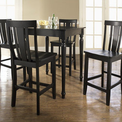 """Crosley - 5 Piece Counter Height Dining Set - Constructed of solid hardwood and wood veneers, the 5 piece Pub / High Dining set is built to last. Whether you are looking for dining for four, or just a great addition to the basement or bar area, this set is sure to add a touch of style to any area of your home. Features: -With Turned Leg Table and Shield Back Barstools.-Distressed: No.-Powder Coated Finish: No.-Gloss Finish: No.-Top Material: Solid hardwood / Veneer.-Base Material: Solid hardwood / Veneer.-Chair Material: Solid hardwood / Veneer.-Solid Wood Construction: No.-Reclaimed Wood: No.-Number of Items Included: Includes 5 Pieces: 1 Table and 4 chairs.-Hardware Material: Steel.-Non-Toxic: No.-Scratch Resistant: No.-Rust Resistant: No.-Leaf Included: No.-Seating Capacity: 4.-Wine Storage: No.-Shelving: No.-Drawers: No.-Corner Block : No.-Stemware Holder: No.-Upholstered Side Chair: No.-Upholstered Arm Chair: No.-Upholstered Bench: No.-Cushioned Chair Seats: No.-Lighted: No.-Outdoor Use: No.-Weight Capacity: 250 lbs (per person).-Swatch Available: No.-Commercial Use: No.-Recycled Content: No.-Eco-Friendly: No.-Product Care: Use a soft clean cloth that will not scratch the surface when dusting. Use of furniture polish is not necessary. Should you choose to use a furniture polish, test in an inconspicuous area first. Use os solvents of any kind could damage your furniture's finish. To clean, simply use a soft cloth moistened with lukewarm water, then buff with a dry soft clean cloth..Specifications: -ISTA 3A Certified: Yes.Dimensions: -Table: Yes -Overall Table Height - Top to Bottom: 36"""".-Overall Table Width - Side to Side: 32"""".-Overall Table Depth - Front to Back: 32"""".-Overall Table Weight: 55.6 lbs..-Side Chair: Yes -Overall Side Chair Height - Top to Bottom: 40.5"""".-Overall Side Chair Width - Side to Side: 18.5"""".-Overall Side Chair Depth - Front to Back: 22.5"""".-Side Chair Seat Height: 24"""".-Overall Side Chair Weight: 18 lbs..-Arm Chair: No.Assembly: -Assembly R"""