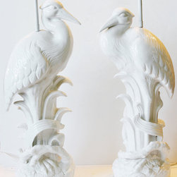 Pair Mid Century Rare White Glazed Pelican Lamps by Paris Couture Antiques - These are gorgeous. And expensive! But these lamps are likely worth the price, as they took my breath away when I saw them. What kind of lamp shade would you put on them? I was at a loss because I thought they were so beautiful on their own. They would be really, really striking for a bedroom (like mine) or a living room.