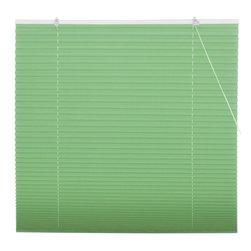 Oriental Furniture - Jade Green Pleated Shades - (36 in. x 72 in.) - Beautiful modern design window treatment in Jade green, inexpensive and easy to install. No need to cut to size, practical urban style retractable blinds with a pleated polyester fabric collapsible shade installs right on the window frame, hardware included. Fits all windows up to six feet tall.